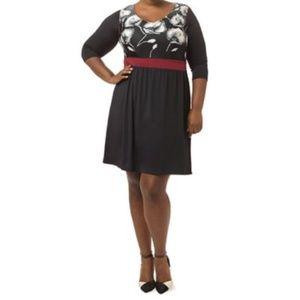 Floral Dress 2X Black Red Polyester NWOT